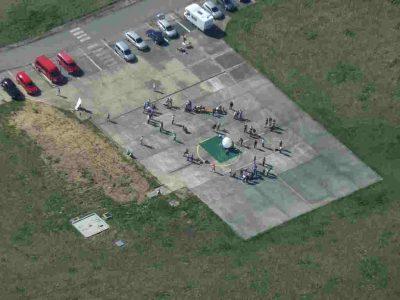 Luftaufnahme der Startstelle des Stratosphärenballons